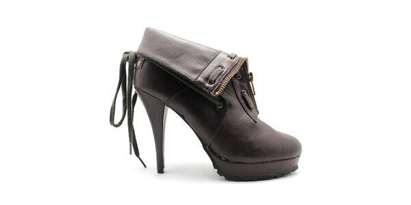 Dámske hnedé členkové topánky so zipsom Furiezza