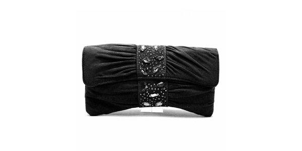 Dámska čierna listová kabelka s flitrami Furiezza