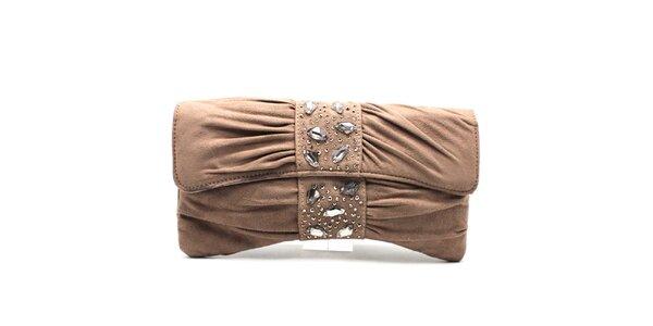 Dámska béžová listová kabelka s flitrami Furiezza