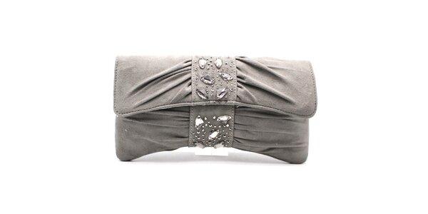 Dámska šedá listová kabelka s flitrami Furiezza