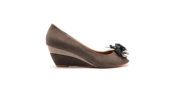 Dámske šedé topánočky na kline Furiezza