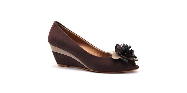 Dámske hnedé topánočky na kline Furiezza