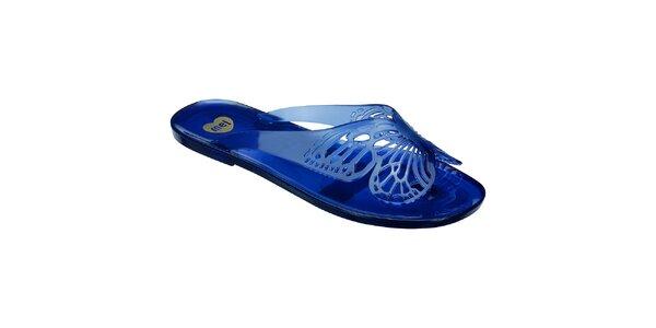 Dámske modré žabky s motýlikom Mel