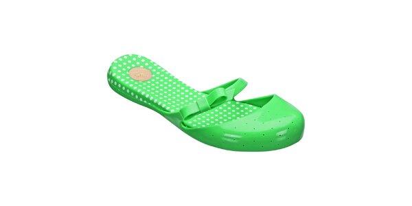 Dámske zelené topánočky s bodkami Mel