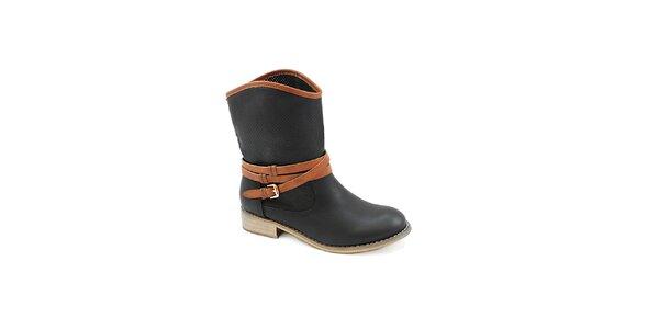 Dámske čierne topánky s hnedým remienkom Colorful