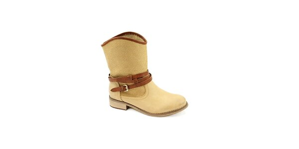 Dámske béžové topánky s hnedým remienkom Colorful