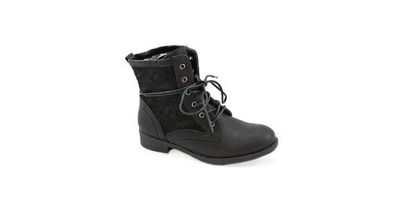 Dámske čierne topánky s čipkou Colorful