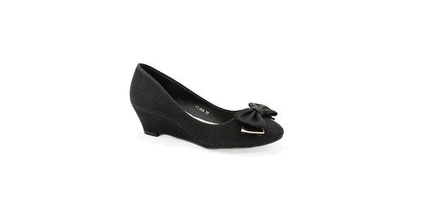 Dámske čierne topánočky na kline Colorful