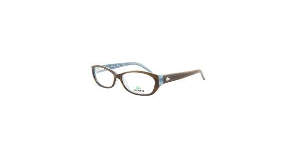 Oválné hnedo-modré okuliare Lacoste