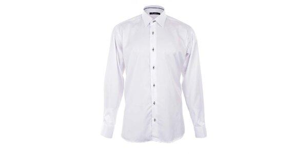 Pánska biela košeľa s čiernymi detailmi Dicotto