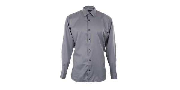 Pánska šedá košeľa s čiernymi detailmi Dicotto