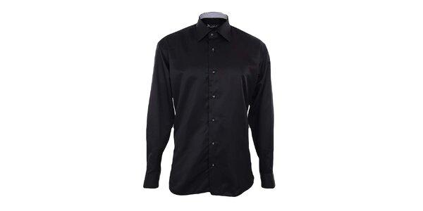Pánska čierna košeľa s kontrastnou légou Dicotto