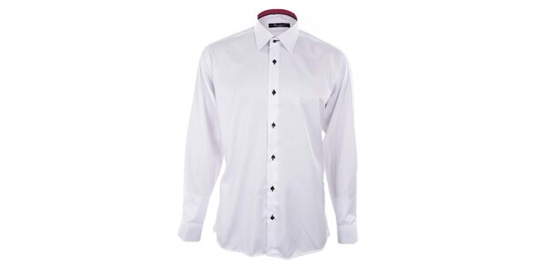 Pánska biela košeľa s červeným podšitým golierom Dicotto