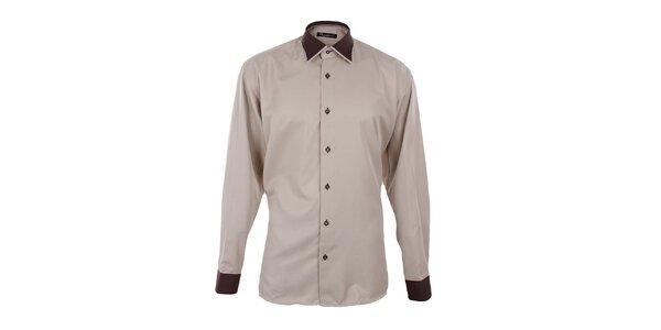 Pánska béžová košeľa s hnedými detailmi Dicotto