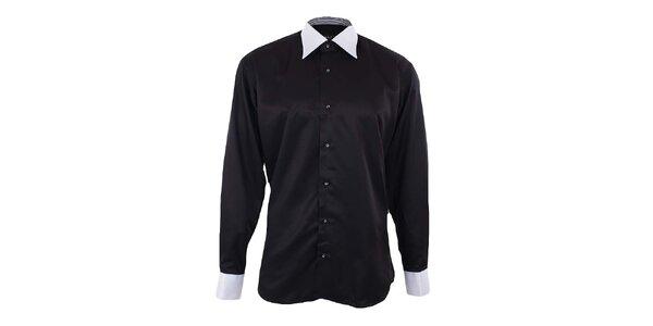 Pánska čierna košeľa s bielym golierom a manžetami Dicotto