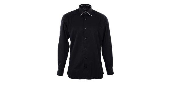 Pánska čierna košeľa s bielymi lemami Dicotto