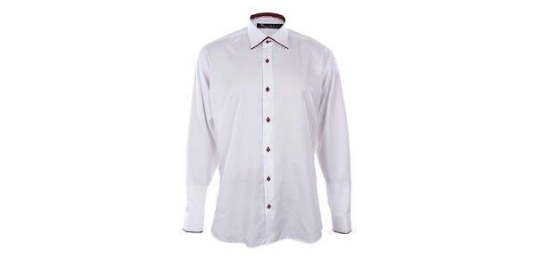 Pánska biela košeľa s vínovými lemami Dicotto