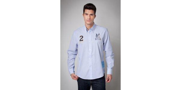 Pánska svetlo modrá košeľa Valecuatro s úzkym prúžkom