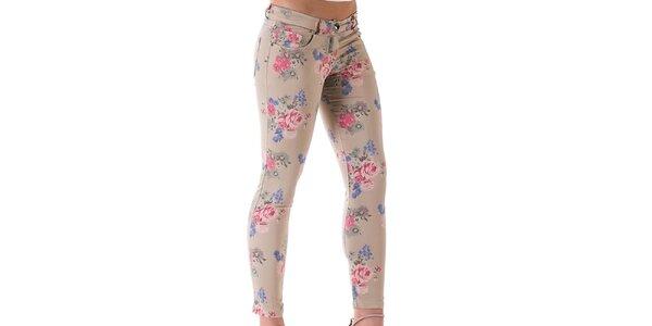 Dámske svetlo béžové kvetované nohavice Keysha