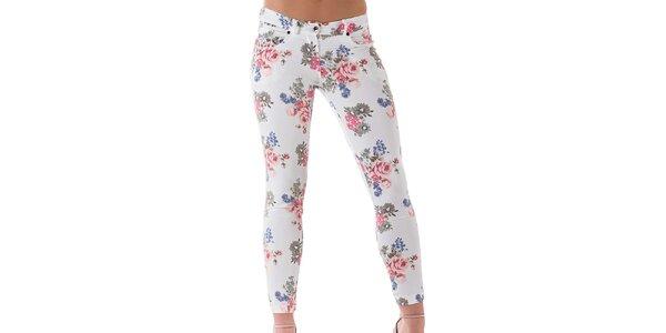 Dámske biele kvetované nohavice Keysha