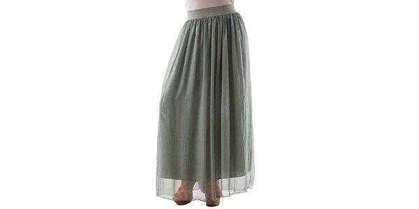 Dámska dlhá zelená hodvábna sukňa Keysha