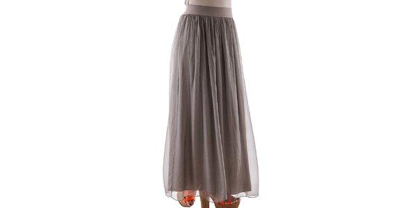 Dámska dlhá hnedošedá hodvábna sukňa Keysha