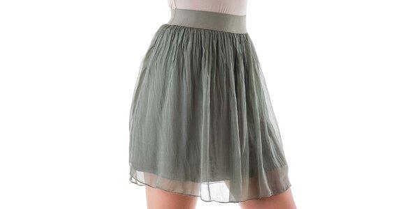 Dámska krátka zelená hodvábna sukňa Keysha