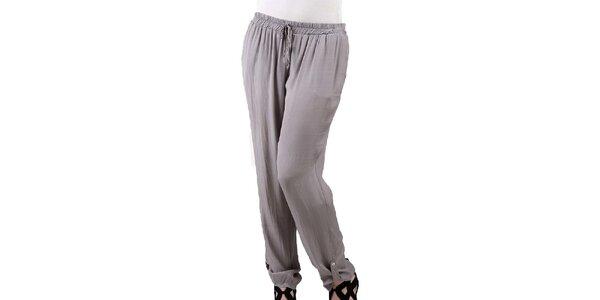 Dámske šedohnedé voľné hodvábne nohavice Keysha