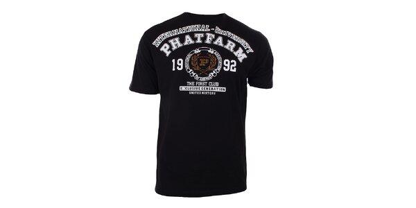 Pánske čierne tričko s potlačou na hrudi Phat Farm