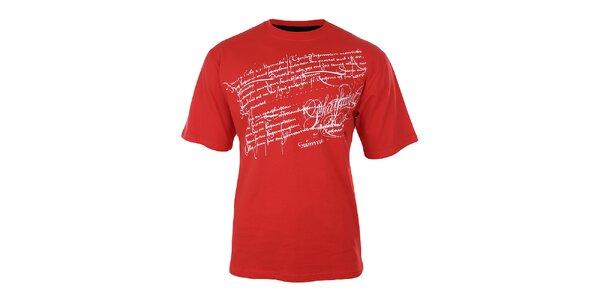 Pánske červené tričko s potlačou na hrudi Phat Farm