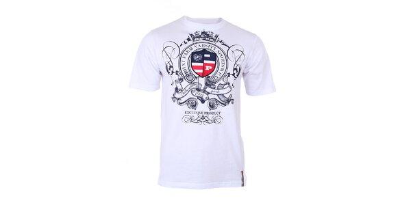 Pánske biele tričko s modrou potlačou na hrudi Phat Farm
