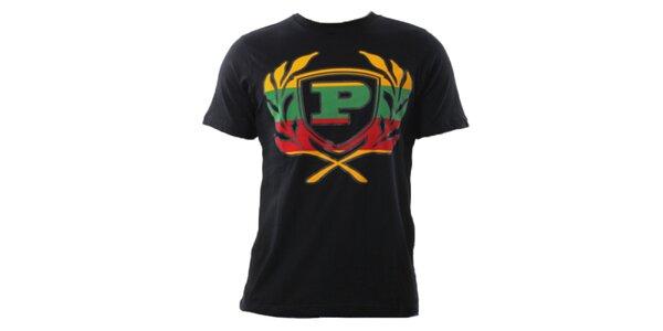 Pánske čierne tričko s farebným znakom Phat Farm