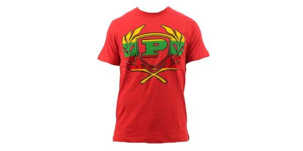 Pánske červené tričko s farebným znakom Phat Farm