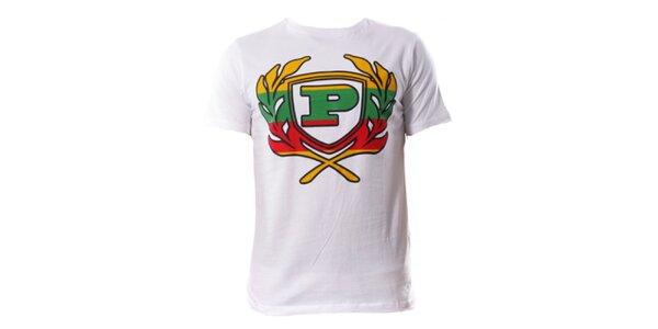 Pánske biele tričko s farebným znakom Phat Farm