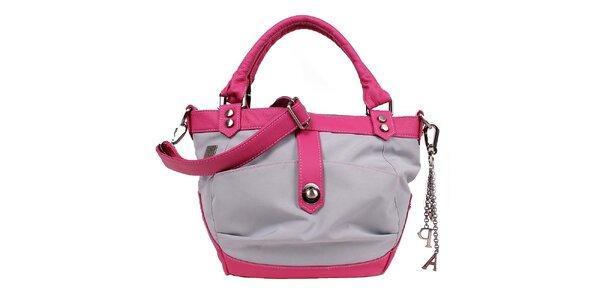 Dámska šedo-ružová kabelka s príveskami Jahn for Jahn