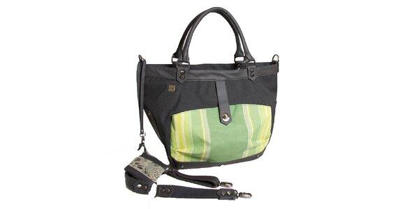 Dámska čierna kabelka so zelenými detailmi Jahn for Jahn