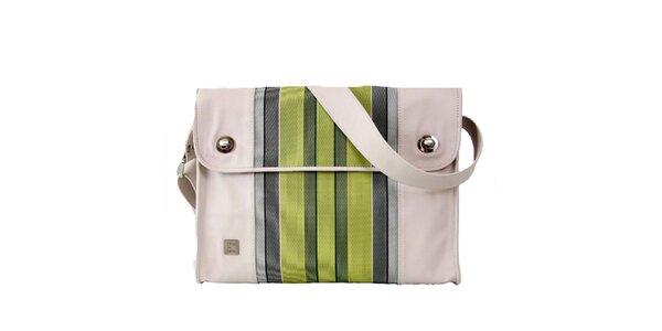 Unisex kožená obdĺžniková taška so zelenými pruhmi Jahn for Jahn