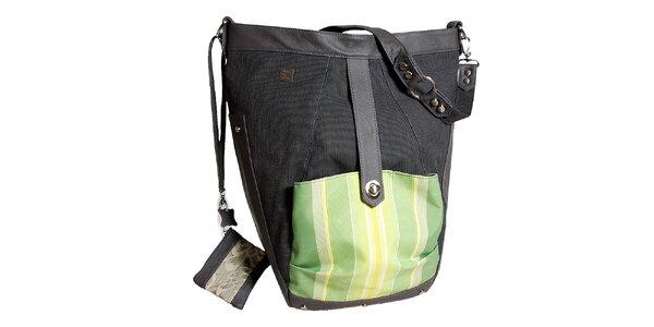 Dámska veľká šedá kabelka so zeleným vreckom Jahn for Jahn