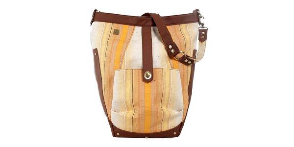 Dámska svetlá kabelka s béžovo-hnedými detailmi Jahn for Jahn