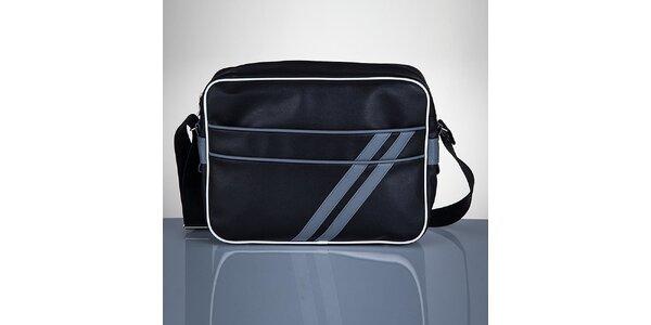 Pánska čierna taška so sivými prúžkami Solier