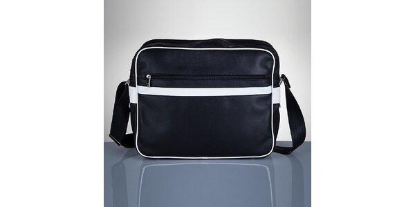 Pánska čierna taška s bielymi prvkami Solier