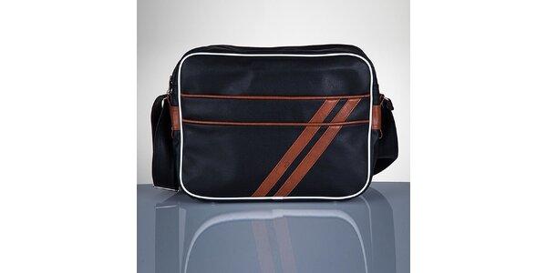 Pánska čierna taška s hnedými prúžkami Solier