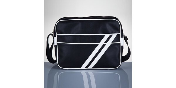 Pánska čierna taška s bielymi prúžkami Solier