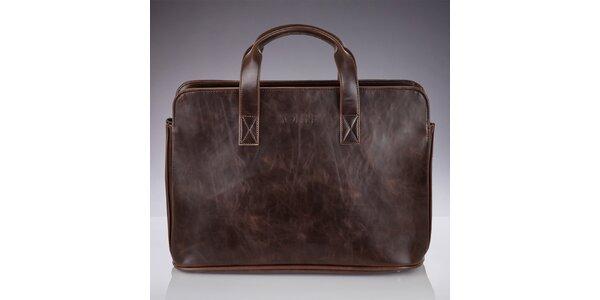 Pánska hnedá taška s popruhom a žíhaním Solier