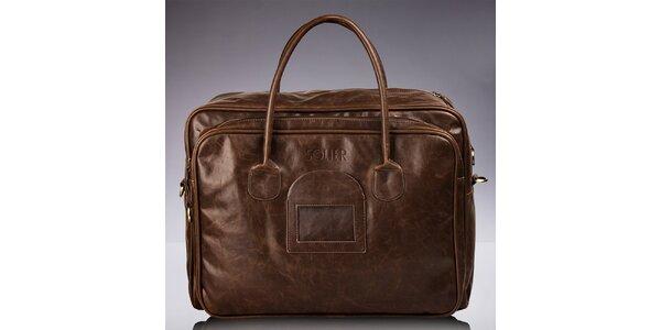 Pánska hnedá taška so žíhaním Solier