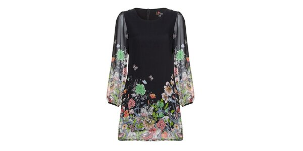 Dámske čierne šaty s farebnou potlačou Yumi