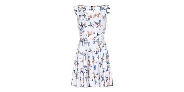 Dámske krémové šaty s farebnými motýlikmi Yumi