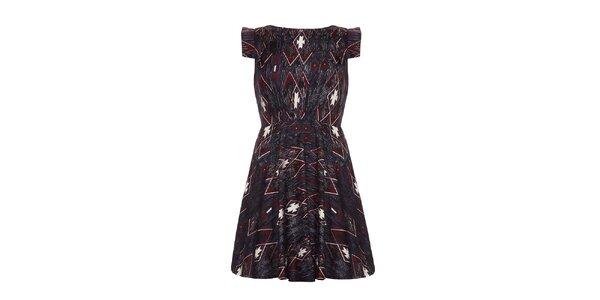 Dámske tmavé šaty s geometrickými obrazcami Yumi