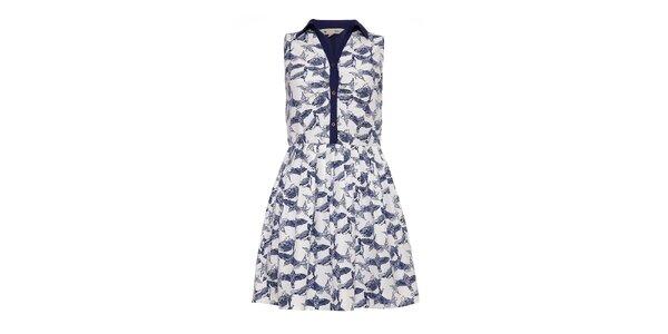 Dámske svetlé šaty s modrými vtáčikmi Yumi