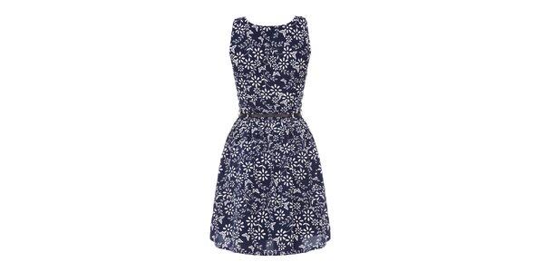 Dámske modré šaty so vzorom Yumi
